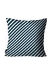 Capa Para Almofada Premium Cetim Mdecore Listrada Azul Escuro 45X45Cm