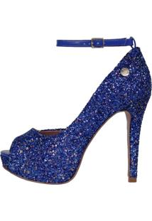 Peep Toe Week Shoes Meia Pata Glitter Furtacor Azul Corte Lateral