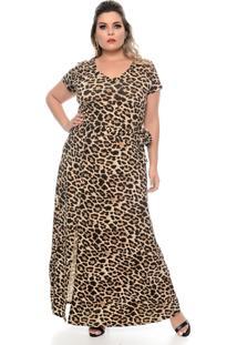Vestido Domenica Solazzo Longo Leopardo