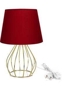Abajur Cebola Dome Vermelho Com Aramado Dourado