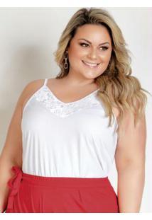 Blusa Branca Com Alças E Renda Plus Size