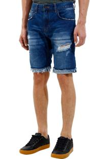 Bermuda John John Clássica Edimburgo 3D Jeans Azul Masculina (Jeans Medio, 42)