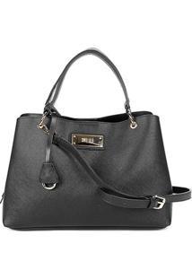 Bolsa Santa Lolla Handbag Placa Alça Fivela Chaveiro Feminina - Feminino-Preto