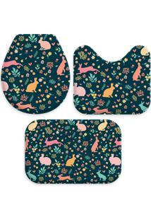Jogo Tapetes Love Decor Para Banheiro Cute Color Easter Único - Kanui