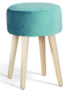 Puff Coin Azul Tiffany Pes Palito Pinus 45Cm - 61346 - Sun House