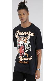 "Camiseta Masculina ""Tigre"" Manga Curta Gola Redonda Preta"