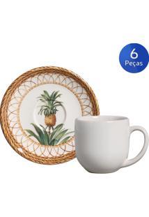 Conjunto 6 Xícaras De Café Com Pires Pineapple Natural - Porto Brasil - Verde / Bege