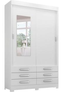 Guarda-Roupa Solteiro Com Espelho Moscou 2 Pt 6 Gv Branco