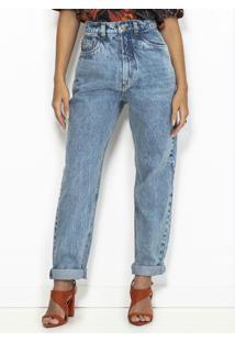 Calça Jeans Mom Reta Azul
