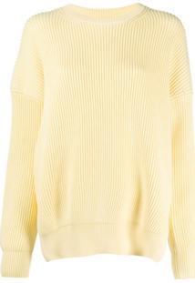 Loewe Suéter De Tricô Canelado Com Fendas Laterais - Amarelo