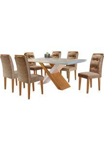 Conjunto De Mesa Para Sala De Jantar Tampo De Vidro Com 6 Cadeiras Doris-Rufato - Animalle Chocolate / Off White / Imbuia