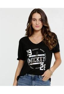 Blusa Estampa Mickey Metalizado Manga Curta Disney Feminina - Feminino-Preto