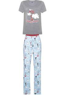 Pijama Feminino Manga Curta E Calça Estampada - Peanuts