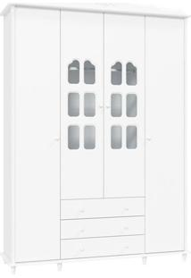 Guarda Roupa Infantil Provence 4 Portas Branco Acetinado – Matic