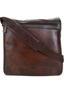 Bolsa Couro Shoestock Carteiro Transversal Masculina - Masculino-Marrom