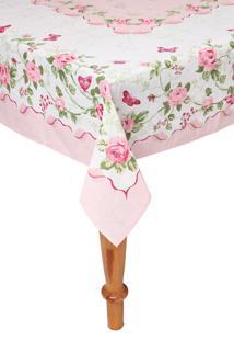 Toalha De Mesa Lepper Retangular Rose 140X220Cm Rosa/Branca