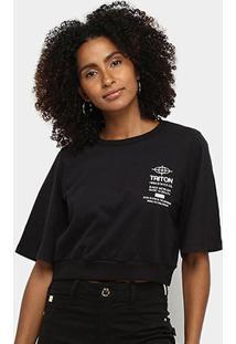 Camiseta Triton Cropped Feminina - Feminino-Preto