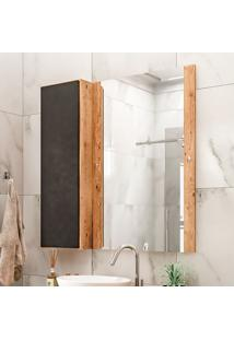 Armário De Banheiro Com Espelho Castellon 1 Pt Preto