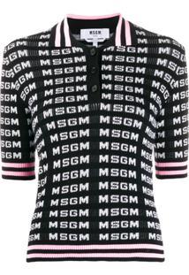 Msgm Camisa Polo Com Logo - Branco