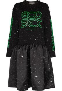 Christopher Kane Vestido De Tricô Com Estampa De Estrelas - Preto