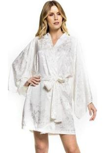 Robe Cetim Floral Feminino - Feminino-Off White