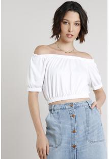 Blusa Feminina Cropped Ombro A Ombro Manga Curta Off White