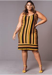 Vestido Tricolor Barrado Plus Size