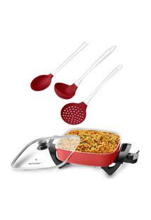 Combo Cozinha - Panela Elétrica Multilaser 1250W 127V Vermelha E Kit Para Servir De Silicone Cabo Acrílico - Ud037K Vermelho