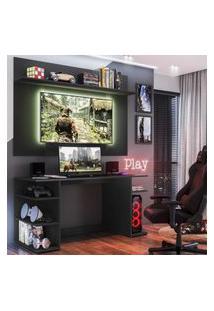 """Mesa Gamer Com Painel Tv 55"""" E Prateleira Guilda Plus Multimóveis Preta"""