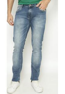 Jeans Reto Concept Fit Com Bolso - Azulindividual