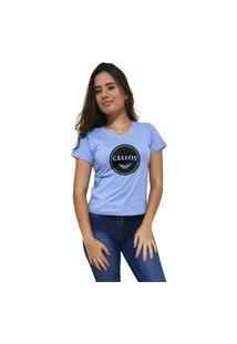 Camiseta Feminina Gola V Cellos Bowl Premium Azul Claro