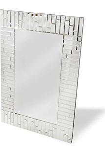 Espelho De Parede Retangular Mosaico 61Cmx91Cm Nakine