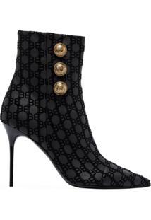 Balmain Roni 95 Flocked Ankle Boots - Preto