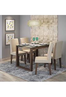 Conjunto Sala De Jantar Mesa Tampo De Vidro Anita 4 Cadeiras Milena Cimol Marrocos/Caramelo