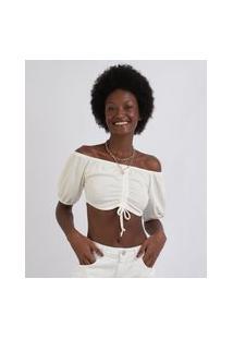 Blusa Feminina Texturizada Cropped Com Franzido Manga Curta Bufante Decote V Off White