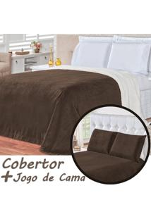 Kit Cobertor C/ Lençol Alaska Dupla Face Tabaco Queen - Sherpa E Manta Microfibra 04 Peças
