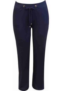 Calça Pau A Pique Pantalona Básica - Feminino-Azul Escuro