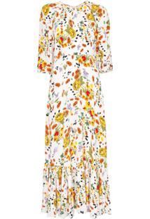 Bytimo Vestido Evasê Com Estampa Floral - Branco