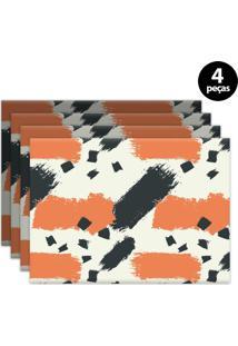 Jogo Americano Mdecore Abstrato 40X28Cm Bege 4Pçs