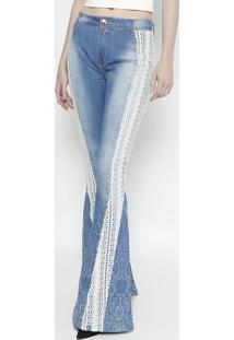 Jeans High Super Flare Com Renda - Azul Claro -Lançalança Perfume