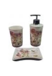 Kit Para Banheiro Em Porcelana Branco Escova Saboneteira Liquido Chocolat Lombart Paris Amigold