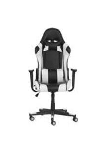 Cadeira Gamer Ben Reclinavel 180 Giratoria Preta Com Branco Altura Ajustavel