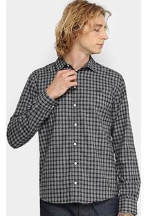 Camisa Xadrez Manga Longa Colcci Slim Masculina - Masculino-Cinza+Preto