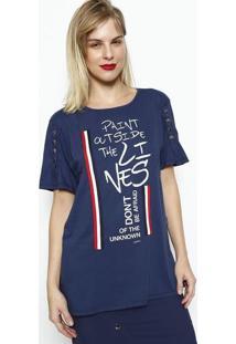 Camiseta Com Inscrições & Botões- Azul Marinho & Vermelhdimy