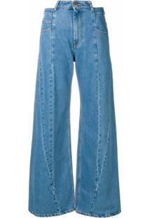 Maison Margiela Calça Pantalona Jeans - Azul