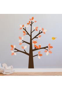 Adesivo De Parede Árvore E Raposa Para Quarto Infantil 118Cm
