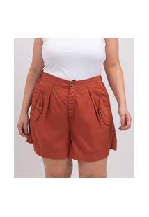 Short Liso Em Viscose Com Bolsos De Lapela Curve & Plus Size | Ashua Curve E Plus Size | Laranja | G