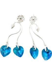 Brinco Coração Azul De Prata - Feminino-Prata