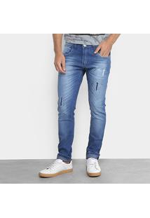 Calça Jeans Slim Zamany Com Respingos Masculina - Masculino-Jeans