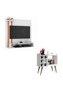 Conjunto Sala Com Painel Para Tv 32 Polegadas Smart Plus - Branco Com Nature E Aparador Bar Retrô Baden - Branco